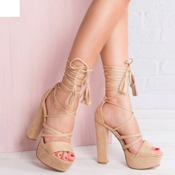 1524800630 ASOS Shoes | New Truffle Collection Nude Lace Up Platforms | Poshmark